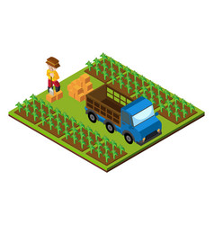 3d design for farmer and truck on farmyard vector