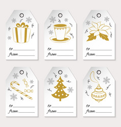 a set of six christmas or new year gift tags with vector image