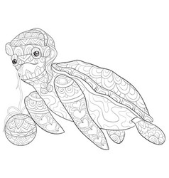 adult coloring bookpage a cute turtle vector image