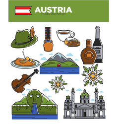 Austria travel destination promotional poster with vector