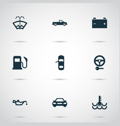 Auto icons set with key oil pressure low vector