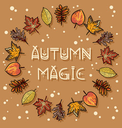 Autumn magic decorative wreath cute cozy banner vector