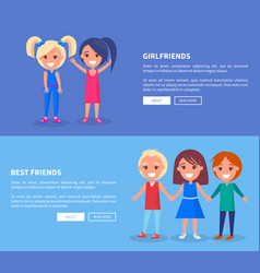 Best friends boys girls poster of active kids vector