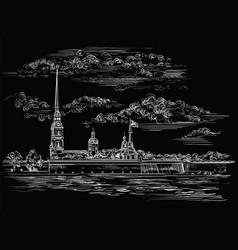 black hand drawing st petersburg 6 vector image
