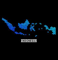 Blue hexagon indonesia map vector