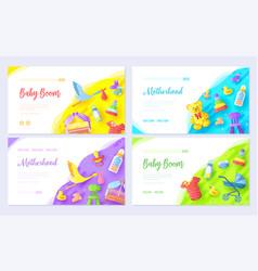 Breastfeeding week brochure cards set vector