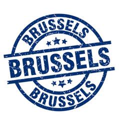Brussels blue round grunge stamp vector