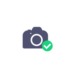 camera icon with checkmark vector image