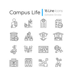 Campus life pixel perfect linear icons set vector