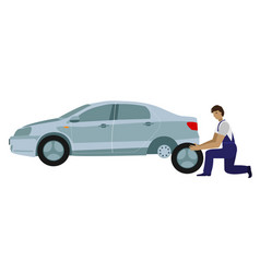 car repairman changes the wheel of the car car vector image