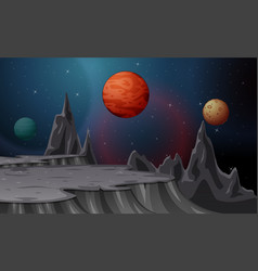 Cartoon landscape with moons and planets on starry vector