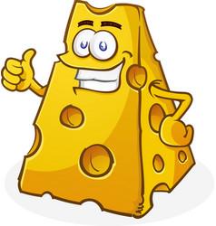 cheese cartoon character thumbs up vector image