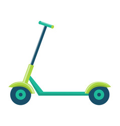 childish kick scooter with green metal corpus vector image