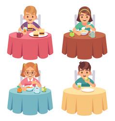 Children eating kids eat dinner table child vector
