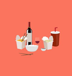 chinese food take away with wine and beverage vector image