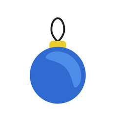 christmas blue ball hanging on thread toy vector image