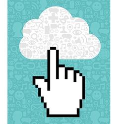 Cloud computing cursor icon hand vector