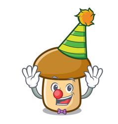 Clown porcini mushroom mascot cartoon vector