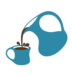 Coffee pouring from a jug into cup Isolated vector