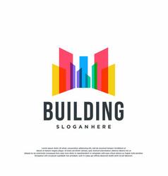 Colorful logo design concept building logo vector