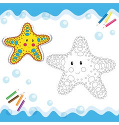 Coloring book starfish vector image