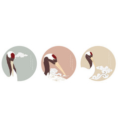 crane birds with circle background japanese wave vector image