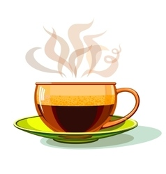 Cup of hot coffee glass vector image
