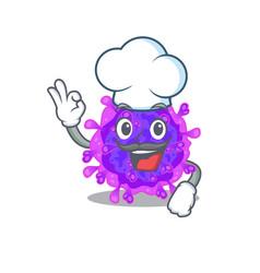 Cute alpha coronavirus wearing white chef hat vector