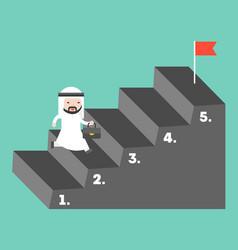 cute arab businessman climbing up step to reach vector image