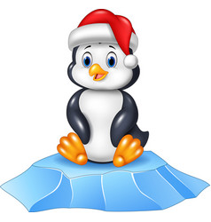 Cute baby penguin sitting on ice floe vector