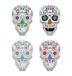 Day of the dead skull set on background vector