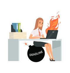 deadline time office manager typing on computer vector image