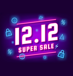 December 12 super sale shopping day neon sign vector