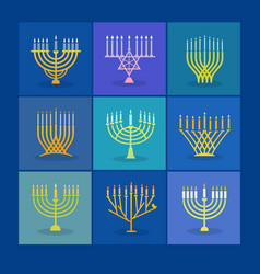 Different modern menorah icons for hanukkah vector