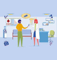 doctor taking blood test for diabetic patient vector image