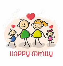Doodle cartoon figure happy family vector