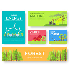 ecology information cards set ecological template vector image