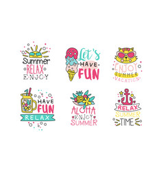 Enjoy summer vacation logo design templates vector