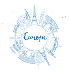 Famous landmarks in Europe Outline vector image