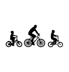 father son and daughter riding bicycle silhouette vector image