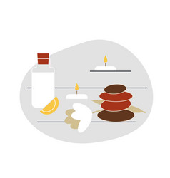 Flat with items for thai massage spa vector