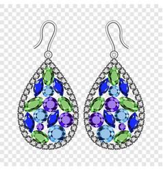 Gemstones earrings mockup realistic style vector