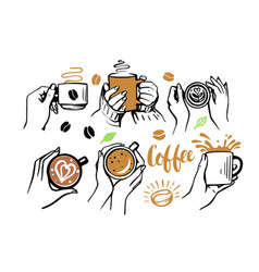 girl and man holding cup coffee or tea in her vector image