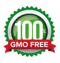 GMO free badge with red ribbon vector image