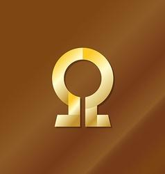 Golden style omega letter symbol vector