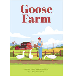 Goose farm poster template vector