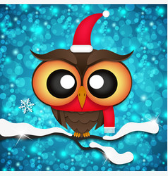 Greeting card with cute owls in Santa hats vector