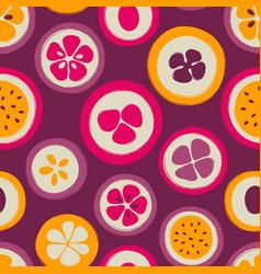 Grunge slice of fruits seamless pattern vector