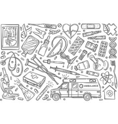 hand drawn helthcare set doodle background vector image