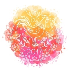 hand drawn rooster 2017 chinese new year vector image